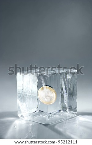 transparent big ice cube on neutral background - stock photo