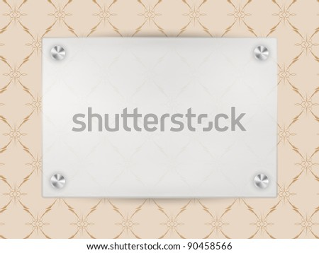Transparent Blank Frame on Beige Vintage Wallpaper