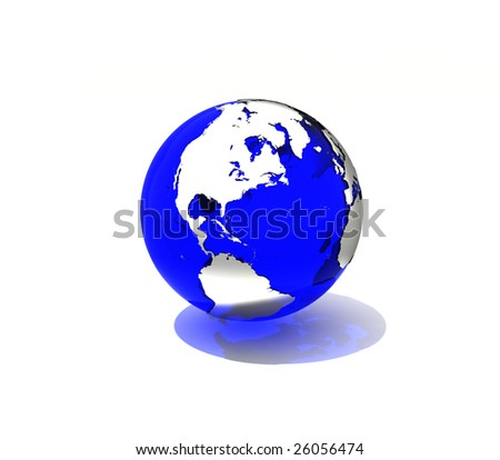 Transparent blue Earth with shadow