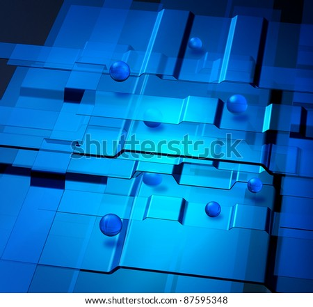Transparent blue levels and spheres nanotechnology concept - stock photo