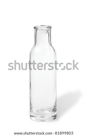 Transparent bottle with a slight shadow isolated on with background - stock photo