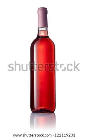 transparent bottle with pink wine isolated on white background - stock photo