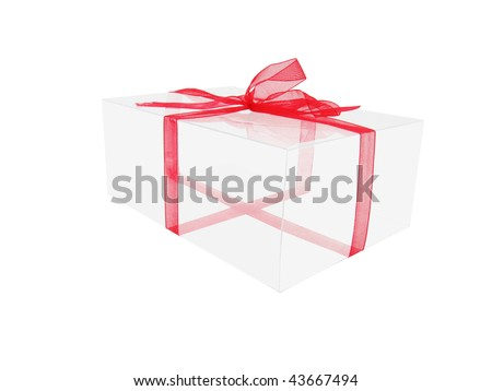 transparent box with red ribbon - stock photo