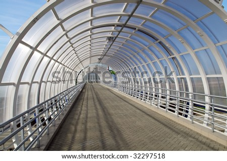 Transparent bridge tunnel inside view. Perspective