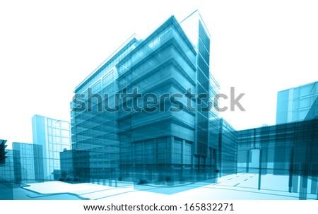 transparent building - stock photo