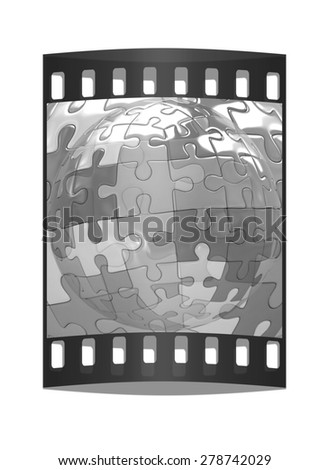 Transparent button on the mosaic abstract background. The film strip - stock photo