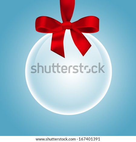 Transparent Christmas ball. Ball and snowflakes on blue background
