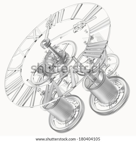 Transparent clock mechanism. Isolated render on a white background - stock photo