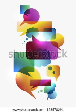 Transparent colorful communication speech bubbles set isolated over white background. - stock photo