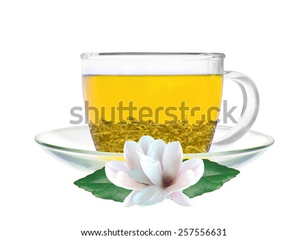 Transparent cup of green tea and jasmine flowers isolated on white background - stock photo