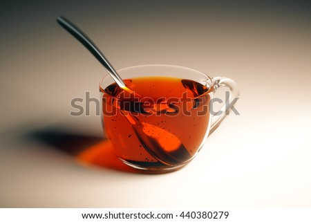 Transparent cup of tea with spoon on light table. Closeup, 3D Rendering