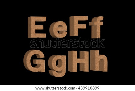 Transparent 3D cork textured alphabet and symbols in different angles EFGH
