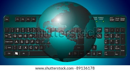 Transparent Earth globe suspended above a green computer keyboard / Earth and keyboard