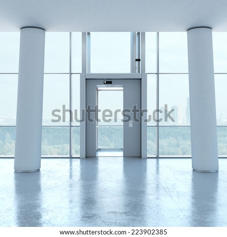 Transparent elevator and white columns - stock photo