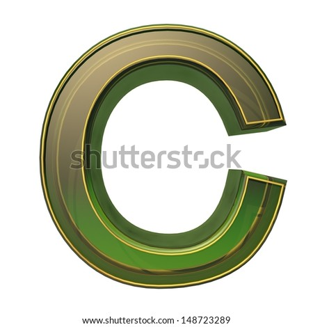 transparent emerald green alphabet with gold edging, 3d letter C isolated on white