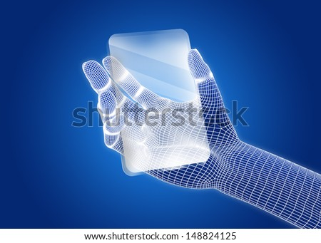 Transparent future mobile phone in hands. Concept.  - stock photo