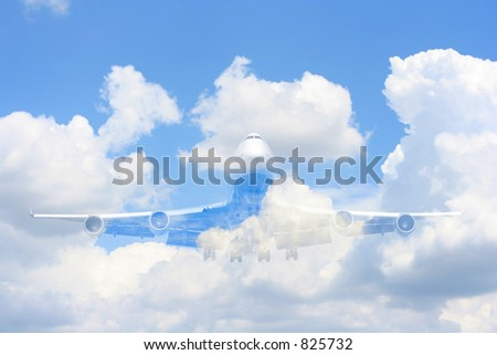 Transparent 747,ghost plane - stock photo