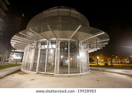 Transparent glass and metal structure  at night in Zagreb, Croatia