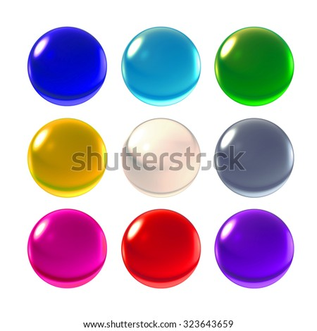 Transparent glass ball on background with crystal material  - stock photo