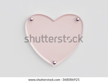 Transparent glass board in shape of heart. 3D render with clipping path - stock photo