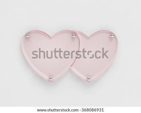 Transparent glass board in shape of two hearts. 3D render with clipping path - stock photo