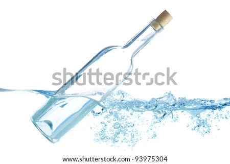 Transparent glass bottle with cork isolated on white - stock photo