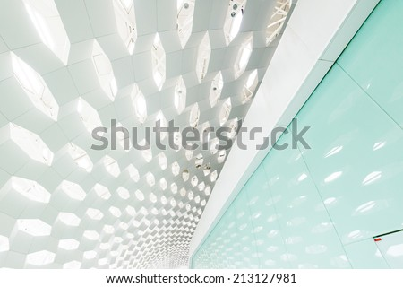 Transparent glass ceiling subway station - stock photo