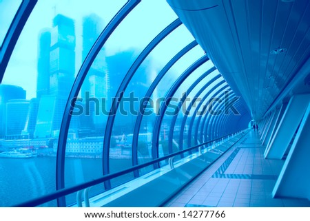 transparent glass corridor in the business centre