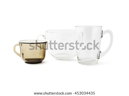 Transparent glass cup isolated closeup. With clipping path