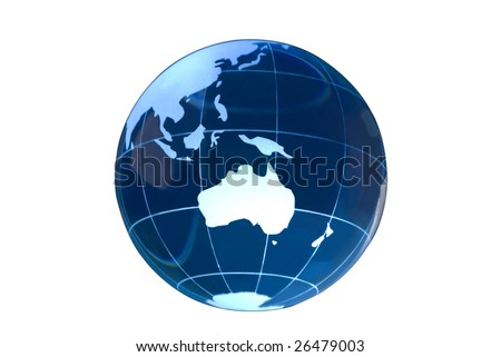 Transparent glass globe on white background with Australia featured.