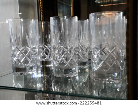 transparent glass goblets for wine, champagne and beer. - stock photo