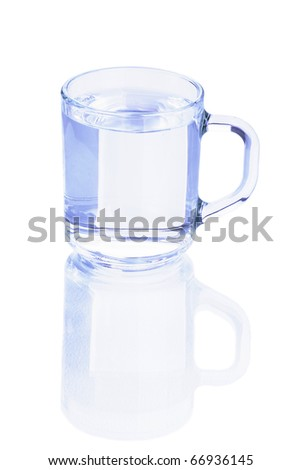 Transparent glass of water with reflection on white