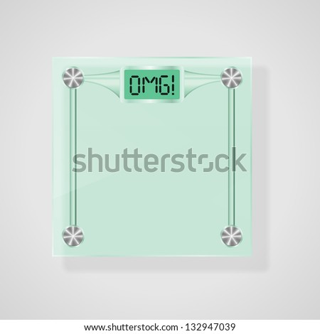 Transparent Glass Scales With OMG! Text. Weight Loss Concept. Raster Version - stock photo