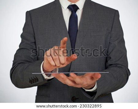 Transparent glass screen and businessman