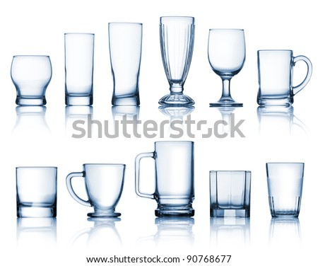 Transparent glass set isolated over white background - stock photo