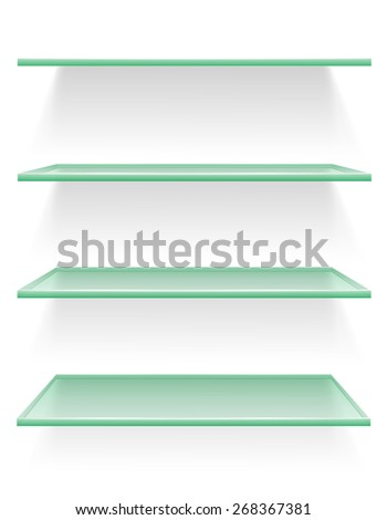 transparent glass shelf illustration isolated on white background