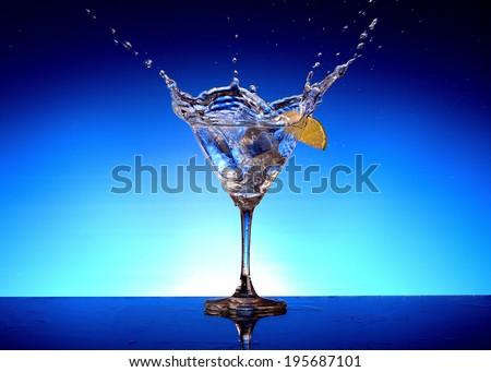 Transparent glass vodka - stock photo