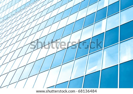 transparent glass wall of office building