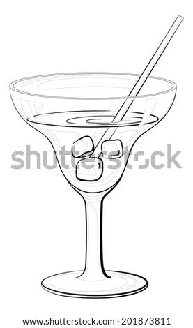 Transparent glass with drink, ice cubes and straw, black contours isolated on white background. - stock photo