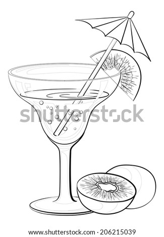 Transparent glass with drink, kiwifruit and straw with umbrella, black contours isolated on white background. - stock photo