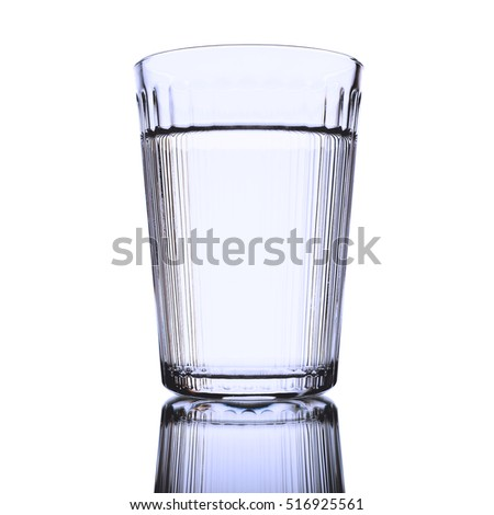 Transparent Glass With Fresh Water On Pure White Background.