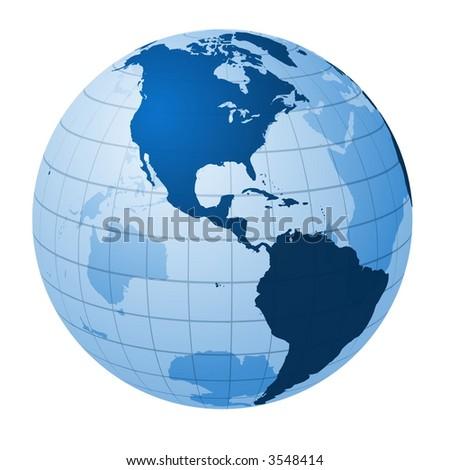 Transparent globe focused on America - stock photo