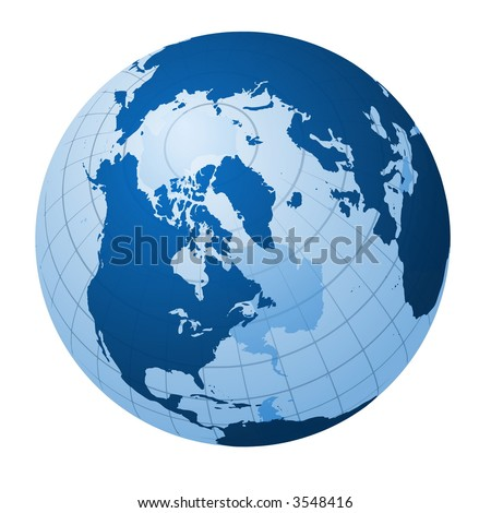 Transparent globe focused on the north Pole - stock photo