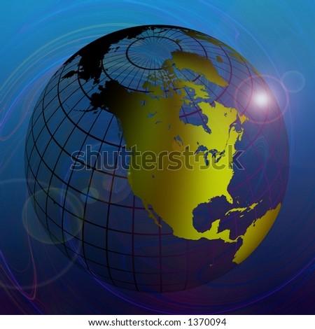 Transparent Globe on Blue Background - stock photo