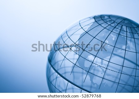 Transparent globe showing North America. - stock photo