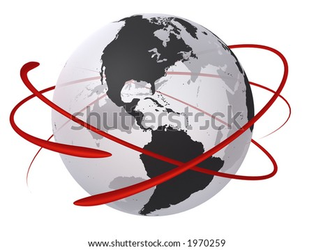 Transparent globe with red electron focused on the USA