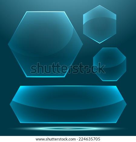 Transparent glossy glass button set - stock photo