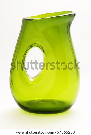 transparent green modern vase isolated in white background - stock photo