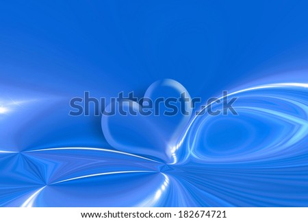 transparent heart on blue background with bright stars