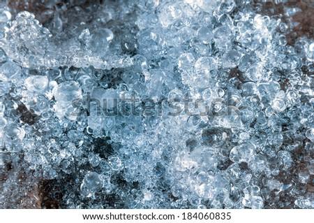 transparent ice structure close-up - stock photo